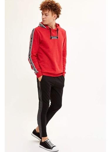 DeFacto Kapüşonlu Baskılı Slim Fit Sweatshirt Kırmızı